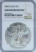 2000 American Silver Eagle Dollar $1 / .999 Pure / Certified NGC GEM BU 🇺🇸
