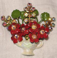 Vintage Beautiful Rhinestone Gold Tone Brooch Pin Jewelry red enamel Flower