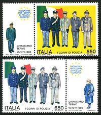 Italy 1674-1675, MNH. Police in Uniform. Flag, 1986