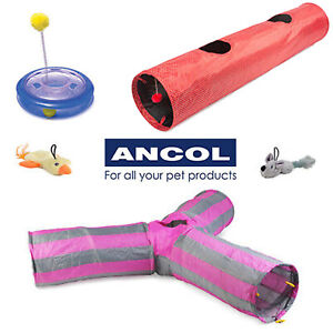 Ancol Cat Play Tunnel Y Shape Red Polka Plastic Playground Cat Nip Pocket Chase