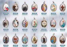 Various Saints Oxidised Enamel Picture Medal Religious Gift Pendant Christian