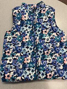gymboree girls medium 7/8 floral puffer vest will zip