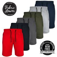 New Mens Shorts Summer Sweat Shorts Zip Pockets Plain Fleece Casual Jogger UK