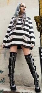 Black Velvet Lace Up Thigh High Boots Gothic Lolita Steampunk Demonia Glam-300