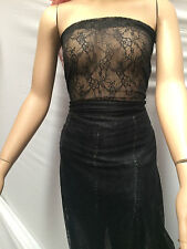 BLACK NYLON STRETCH LACE FABRIC : 150CM WIDE :Selling By the 1/2 mtr : #BEK02