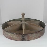 Rustic Round Wood/Metal TRAY Farmhouse Primitive Country Party Serving Tray