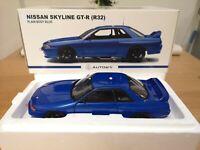 AUTOart 1:18 Nissan Skyline GT-R R32 Plain Body Blue Diecast - NEW