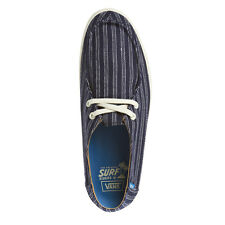 NWOB VANS RATA VULC STRIPES NAVY ANTIQUE WHITE SHOES MENS 7 SURF SIDERS BOAT