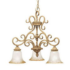 Kichler 3 Light Golden Brulee And Golden Antique Etched Glass Chandelier