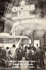 "Bebe Neuwirth (Debut) ""A CHORUS LINE"" Michael Bennett 1978 Dallas Texas Playbill"