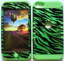 Green Zebra Lime Skin Hybrid Apple ipod Touch 5 5G Rubber Protector Cover Case