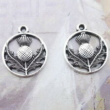 10pcs Tibetan Silver Scottish Thistle Circle Charms Bead Pendants DIY 16*19mm