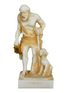 Diogenes the Cynic small aged alabaster statue - Ancient Philosopher - Diogenis