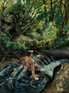 Mann Art SEMI NUDE MALE Nature Original Oil Painting Gay Shirtless Beefcake
