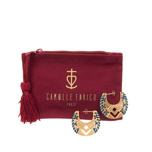 RRP €210 CAMILLE ENRICO 24K Gold Plated Hoop Earrings HAND EMBROIDERED Cut Out
