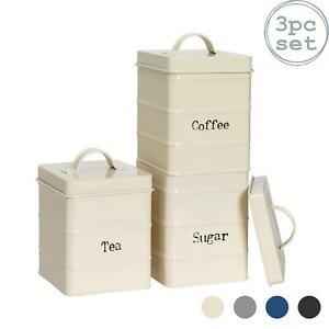 3x Tea Coffee Sugar Canisters Storage Set Kitchen Jars Vintage Tin Metal Cream