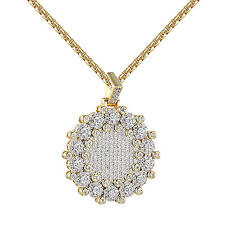 "Iced Out Round Medallion Pendant Solitaire Lab Diamonds Gold Tone Free 24"" Chain"