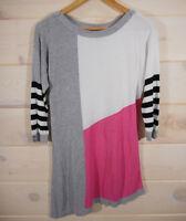 White House Black Market Women's M Sweater Asymmetrical Color Block Gray Pink CL