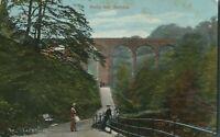 Antique colour printed postcard Healy Dell Rochdale red brick railway bridge