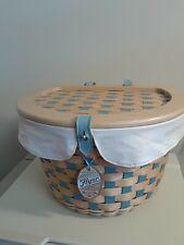New ListingLongaberger Bicycle Basket Combo Soft Aqua and Soft White