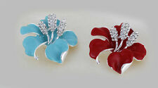 """Red or Turquoise  Enamal 2"""" Party brooch with Clear Diamante Rhinestone Crystals"""