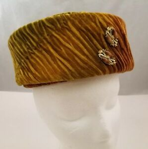 Womens Pillbox Hat Corduroy Green Brown Yellow w Accents & Hat Pin