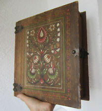 """11""""  Beautiful  ANTIQUE vintage hand PAINTED wooden BOX - BOOK SHAPED, folk art"""