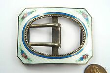Quality Antique English Edwardian Silver Gilt Floral Enamel Belt Buckle c1910