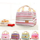 Insulated Cold Canvas Stripe Picnic Totes Carry Case Thermal Portable Lunch Bag