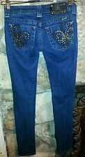 Miss Me DARK BLUE Chain Reaction Silver Stitching Skinny Jeans Sz 25X31 JP6048S3
