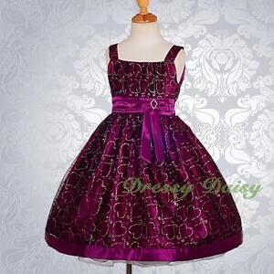 Glittering Pattern Princess Flower Girl Wedding Dress Up Tulle Size 1-6 FG174B