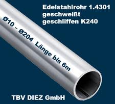 Edelstahl Rundrohr V2A /Ø 40x2mm K240 L/änge 1800mm 180cm auf Zuschnitt