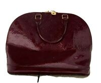 Authentic LOUIS VUITTON Alma GM Monogram Vernis Handbag Violette Patent Leather