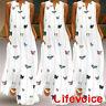 Women's Butterfly Print V Neck Vest Sundress Party Evening Long Maxi Dress 8-22