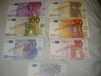 Complete set 5 to 500 Euros Specimen Notes Uncirculated FREE SHIPPING!