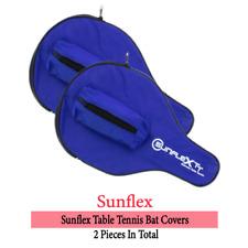SUNFLEX Table Tennis Bat Case Blue Nylon Full Racket Cover with 3-Ball Pocket