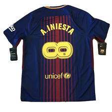 2017/18 Barcelona Home Jersey #8 A.INIESTA Large Nike Infiniti Farewell NEW