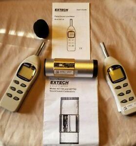 2 Extech 407730 Digital Sound Meters, 1 Extech 407744 Calibrator, Certified