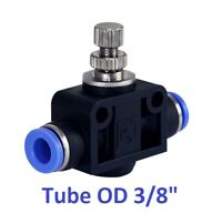 "Air Flow Speed Control Valve Tube OD 3/8"" Inch Pneumatic Push In Fitting 1 Piece"