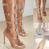 Sexy Womens Buckle Over The Knee Boots Peep Toe High Heels Gladiator Shoes Size