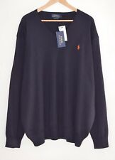 RALPH LAUREN Polo blue Pima Cotton jumper V neck jersey 5X BIG 5XL 5XB XXXXXL