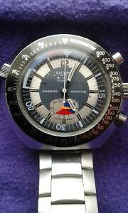 Vintage Sicura chronograph swiss made 17 jewels wristwatch.