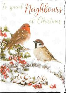 CHRISTMAS CARD TO SPECIAL NEIGHBOURS - ROBINS IN THE SNOW