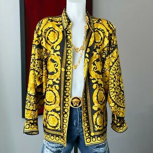 GIANNI VERSACE silk shirt Barocco print navy blue & gold size IT 52 from 1994
