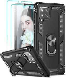 For Samsung Galaxy A12 Case Shockproof Ring Armor Phone Cover + Tempered Glass