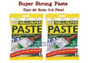 1-2 PK 10-20 ROLLS WALLPAPER WALL PAPER PASTE STRONG STICK ADHESIVE PURPOSE GLUE