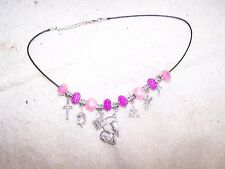 New Religious European Charm Necklace, Pink. Hand Made By Double H Ranch