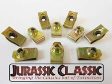 1946-80 Chevy AMC 10pk 1/4-20 Yellow Zinc Extruded Fender U-Nuts Clips Hood Body