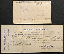 1899 DAVID C. BELL INVESTMENT CO. MINNEAPOLIS, MINN. COVER+CERTIFICATE! NOTABLE!