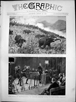Antique Print Elephant Kraal Colombo Story Swordmanship Lyceum Theatre1891 19th